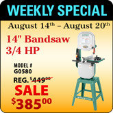 This Weeks Featured Special - G0580