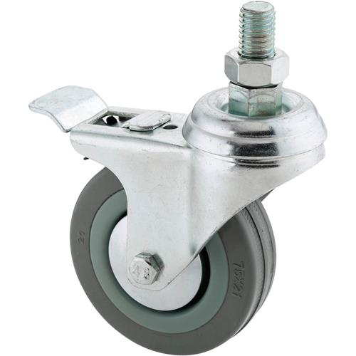 "Hand Caster For Sale: 3"" Gray Rubber Swivel Caster W/ Double Brake, Threaded"