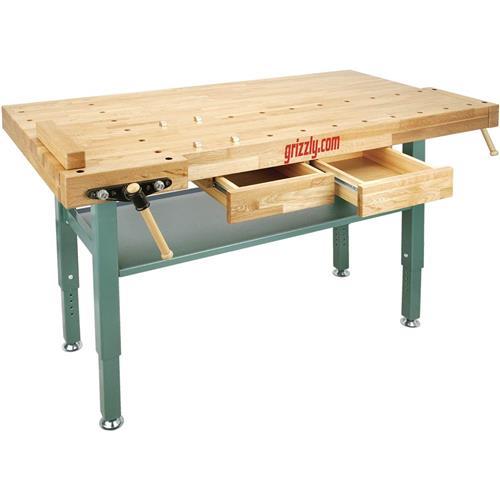 Heavy Duty Oak Workbench With Steel Legs Grizzly Industrial