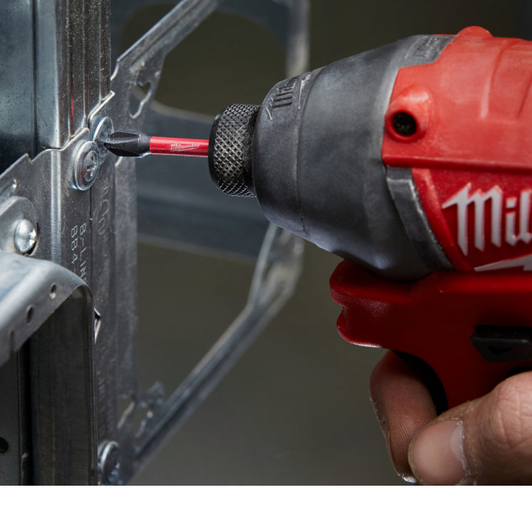 Shockwave Titanium Impact Power Bits, Speed Feed Wood Bits and Red helix Impact bits from Milwaukee tools