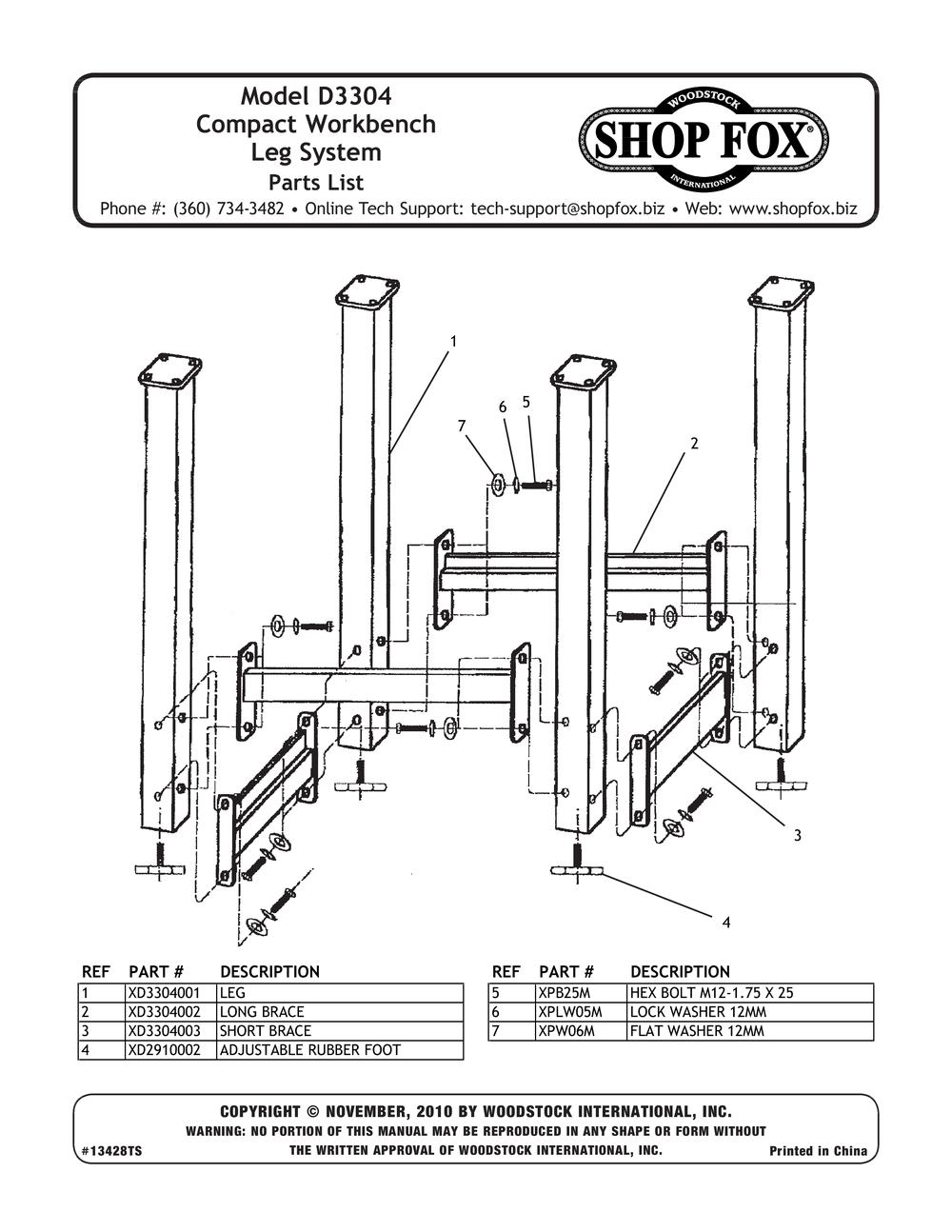 Shop Fox D3304 Workbench Leg System Small