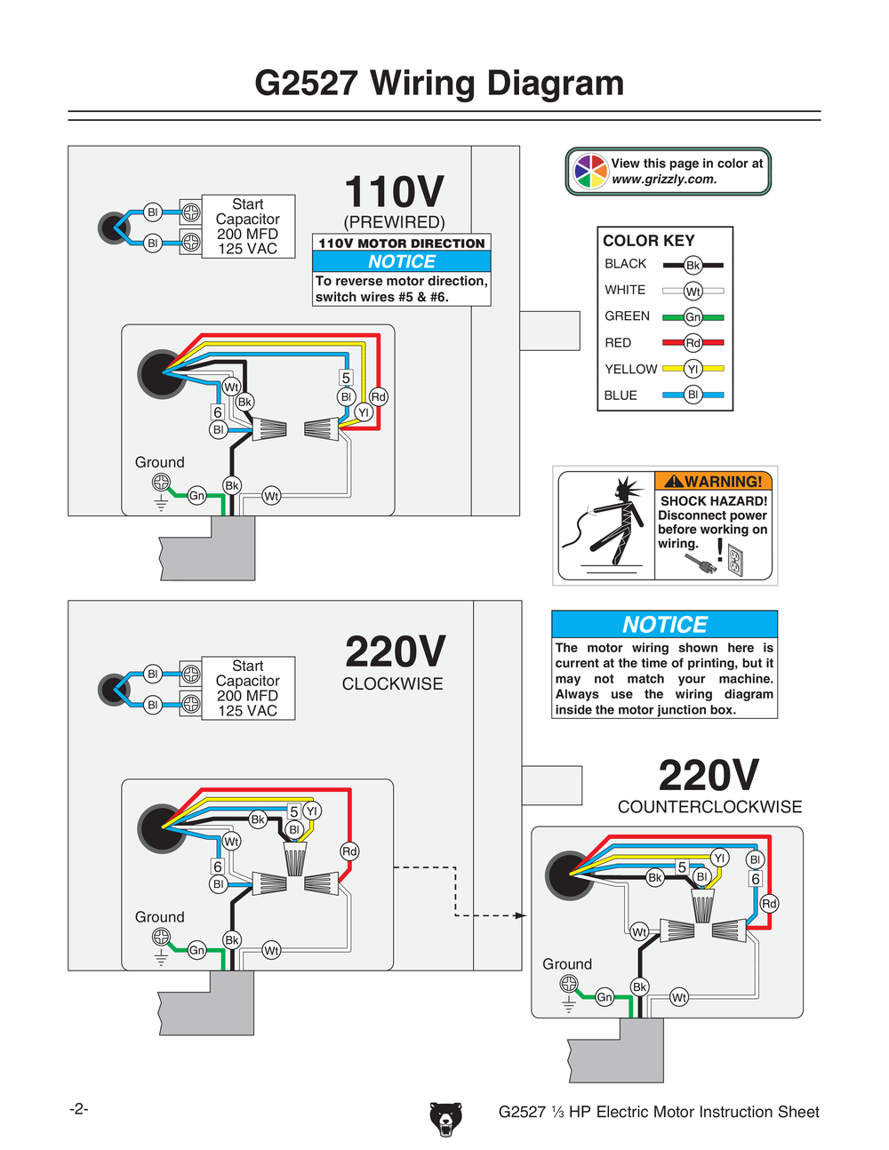 Electric Motor Wiring Diagram 220 To 110 Grizzly Volt Single Pump Wire Phase