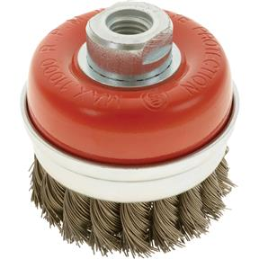 "Knotted Steel Cup Brush Wheels, M14-2, 3"" Dia."