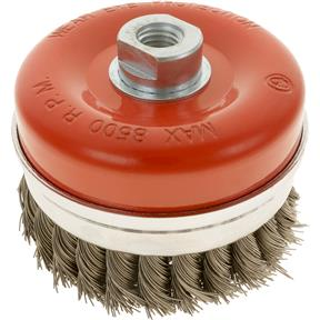 "Knotted Steel Cup Brush Wheels, M14-2, 4"" Dia."