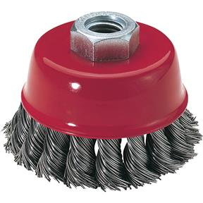 "Knotted Steel Cup Brush Wheels, M14-2, 5"" Dia."