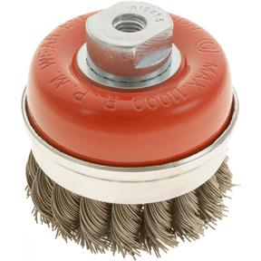 "Knotted Steel Cup Brush Wheels, M10-1.5, 3"" Dia."