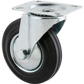 "5"" Black Rubber Swivel Caster"