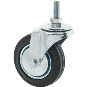 "4"" Black Rubber Swivel Caster, Threaded"
