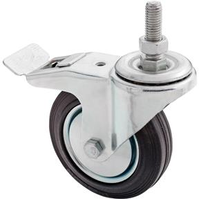 "4"" Black Rubber Swivel Caster w/ Brake, Threaded"