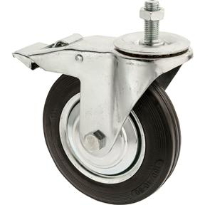 "6-1/4"" Black Rubber Swivel Caster w/ Brake, Threaded"