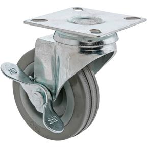 "3"" Gray Rubber Swivel Caster w/ Brake"