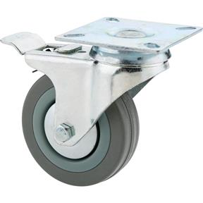 "3"" Gray Rubber Swivel Caster w/ Double Brake"