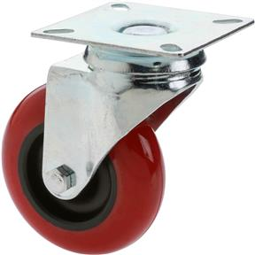 "3"" Red Polyurethane Swivel Caster"