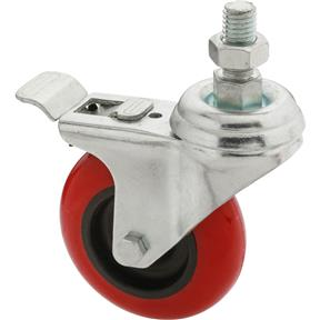 "3"" Red Polyurethane Swivel Caster w/ Brake, Threaded"