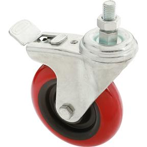"4"" Red Polyurethane Swivel Caster w/ Brake, Threaded"