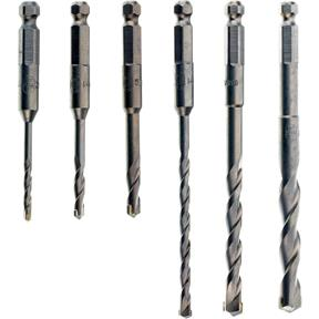 Hex Shank Hammer Drill Bits - 6 pc. Set