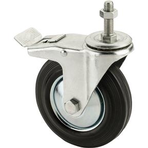 "5"" Black Rubber Swivel Caster, M12x1.75 Threaded Mount with Lock"