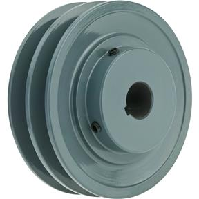 "Double V-Groove Pulley - 4"" Pitch Dia., 3/4"" Bore"