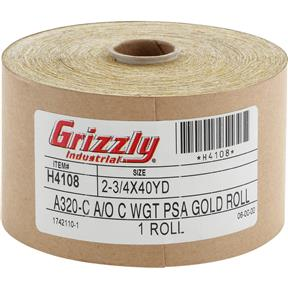 "2-3/4"" x 120' A/O Sanding Roll 320-C Grit, PSA"