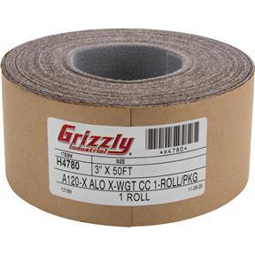 "3"" x 50' A/O Sanding Roll 120 Grit, H&L"