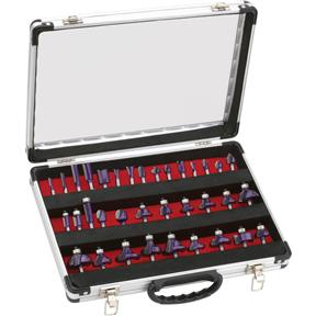 "Router Bit 35 Pc. Set In Aluminum Case, 1/4"" Shank"