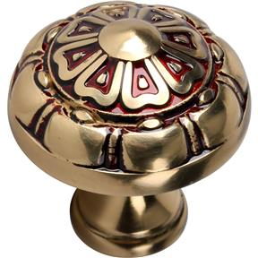 Solid Brass Knob - Raised Floral Style 35mm