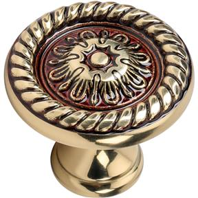 Solid Brass Knob - Art Nouveau with Braided Trim  Style 35mm