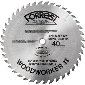 """Woodworker II 10"""" x 5/8"""" 40T #1 Grind .125 Square Cut Blade"""