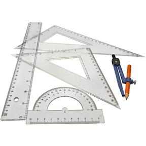 5 pc. Ruler, Compass and Protractor Set