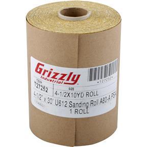 "4-1/2"" x 30' U612 A/O Sanding Roll 80-A Grit, PSA"
