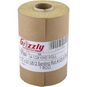 "4-1/2"" x 30' U612 A/O Sanding Roll 120-A Grit, PSA"