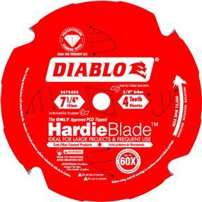"""Diablo 7-1/4"""" x 5/8"""" 4t PCD Hardie Blade"""