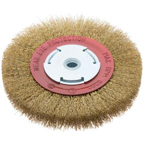 "6"" Circular Crimped Wire Brush, Brass Coated Steel"