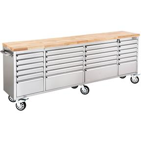 """96"""" 24 Drawer Stainless Steel Industrial Cabinet with Wood Top"""