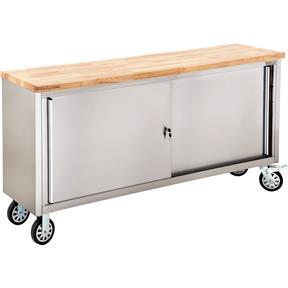 """72"""" 2-Door Stainless Steel Industrial Cabinet with Wood Top"""
