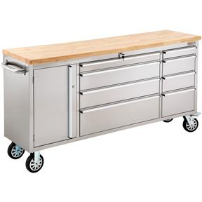 """72"""" 8-Drawer Stainless Steel Industrial Cabinet with Wood Top"""