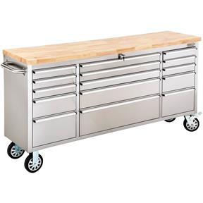 """72"""" 15-Drawer Stainless Steel Industrial Cabinet with Wood Top"""