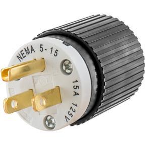 15 Amp 125V NEMA 5-15 Straight Blade Plug