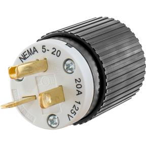 20 Amp 125V NEMA 5-20 Single-Phase Straight Blade Plug