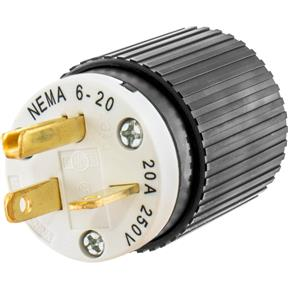 20 Amp 250V NEMA 6-20 Single-Phase Straight Blade Plug