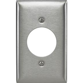 "Stainless Steel Single 1.60"" Receptacle Plate"