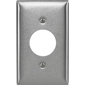 "Stainless Steel Single 1.40"" Receptacle Plate"
