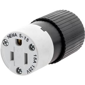 15 Amp 125V NEMA 5-15 Straight Blade Connector