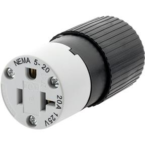 20 Amp 125V NEMA 5-20 Single-Phase Straight Blade Connector