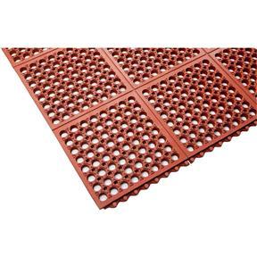 3x5 Nitrile Rubber Mat w/Holes, Beveled Edges, Grease Resistant - Terra Cotta