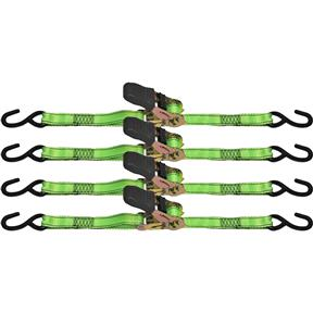"1"" x 15' Ratchet Tie Down Set, 4 pc."
