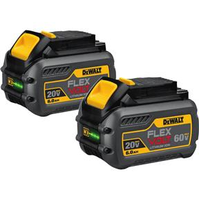 20V/60V 6.0Ah Flexvolt Max Battery Pack, 2 pk.