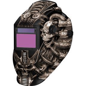 Black Techno Skull Flame Auto-Darkening Welding Helmet