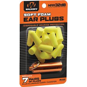 Neon Yellow Foam Ear Plugs w/ Orange Carry Canister, 7 pairs