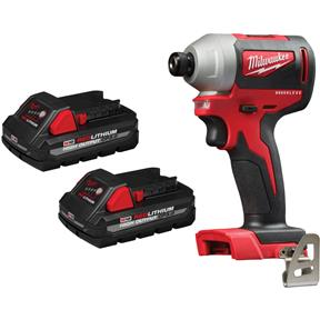 """M18 1/4"""" Reconditioned Brushless Hex Impact Driver with 2 3.0Ah Batteries"""